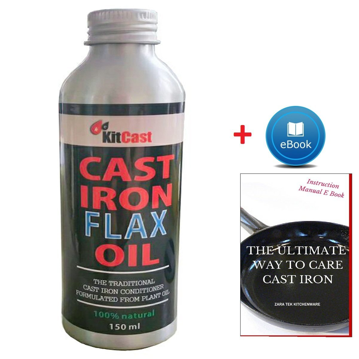 KitCast- Traditional Cast Iron Conditioner or Cast Iron Oil for Cast Iron Cookware Cleaning Regular Maintenance and Seasoning 100% Natural and Developed from Flax Seed Oil