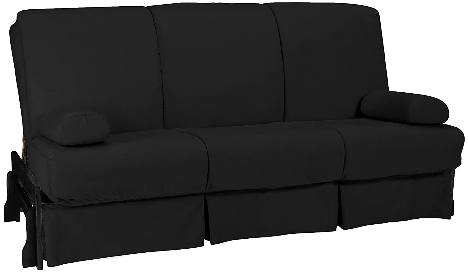 Epic Furnishings Bristol Perfect Sit and Sleep Inner Spring Microfiber Futon Sofa Sleeper Bed - Queen-Size - Black