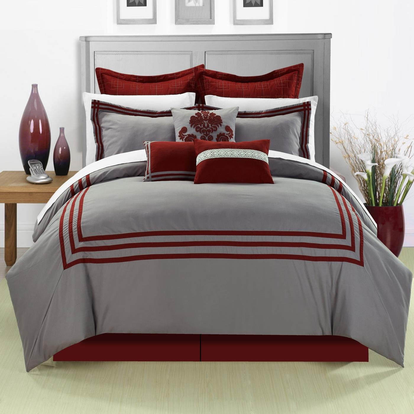 Chic Home 8-Piece Cosmo Embroidered Comforter Set, King, Red