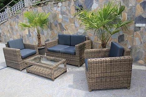 4 tlg Garnitur Polyrattan Premont grau braun meliert Gartenmöbel NEU Gartengarnitur Sofa