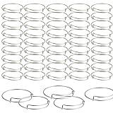 SAYAYA 50 Pieces Expandable Bangle Blank Bangle Bracelets Adjustable Bracelets for Jewelry Making (Silver) (Color: Silver)