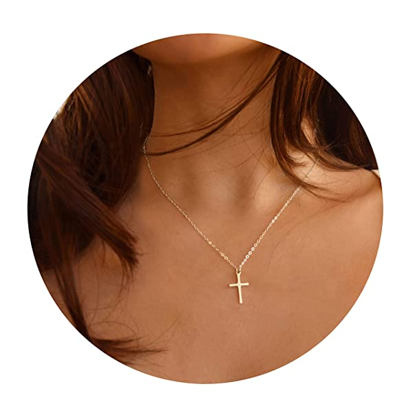 21be7c21a953 Befettly Womens Cross Necklace Simple 14k Gold Filled Polished Gold Choker  Dainty Cross Pendant ...