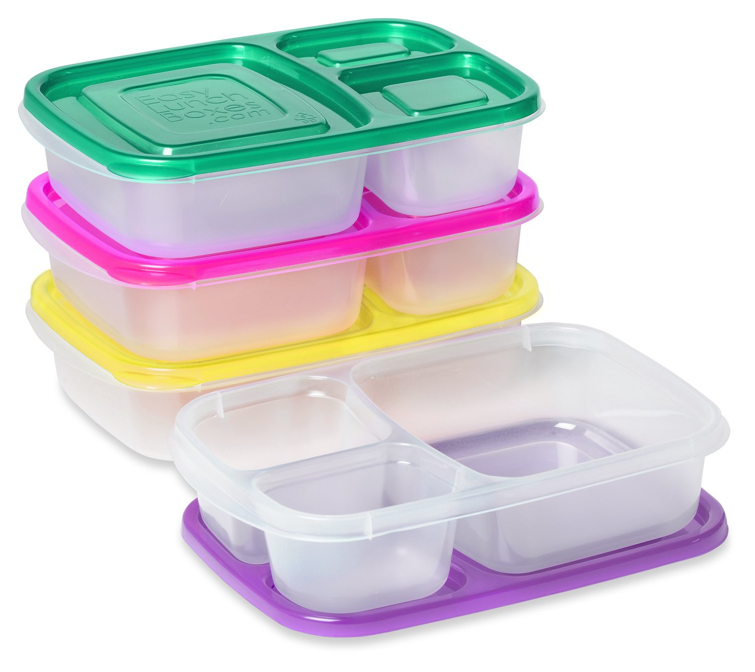 easylunchboxes 3 compartment bento lunch box containers set of 4 brights new ebay. Black Bedroom Furniture Sets. Home Design Ideas