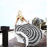 cckiise Round Mandala Tapestry Indian Wall Hanging Fashion Beach Blanket,Yoga Mat, Picnic Blanket,Beach Throw,Sunscreen Shawl Skirt Tassels(black)