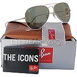 Ray-Ban RB3025 Classic Aviator Sunglasses Gold/Crystal Green (L0205) RB 3025 58mm… (Color: Gold, Tamaño: Medium)