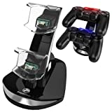 PowerBear PS4 Controller Charger [PS4 / PS4 SLIM / PS4 PRO] PS4 Charging Dock for Dualshock Remote Controller [2 Controllers] Sony Playstation 4 Docking Station – Black [24 Month Warranty]