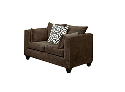 Furniture of America Polluxe Chenille Upholstered Love Seat, Chocolate
