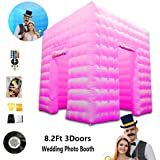 3 Door Inflatable Photo Booth Tent Enclosure with Colorful Changing LED Light-Include Props for Wedding, Party, Anniversary, Birthdays -Commercial or Personal Use (Wedding) (Color: Wedding, Tamaño: 8.2X8.2 X8.2ft(3 door))
