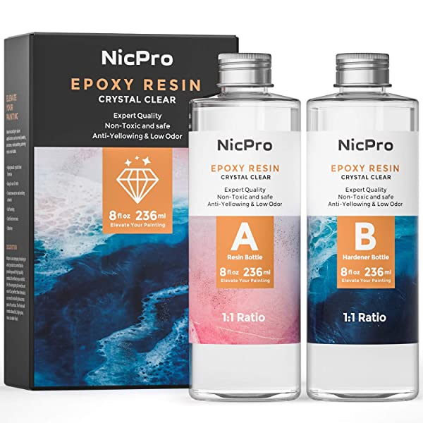 Nicpro 2 Part Art Epoxy Resin 16 Oz. Starter Clear Coating and Casting Resin for Resin Molds Pigment Jewelry Making Kit - Easy Mix 1:1 Ratio