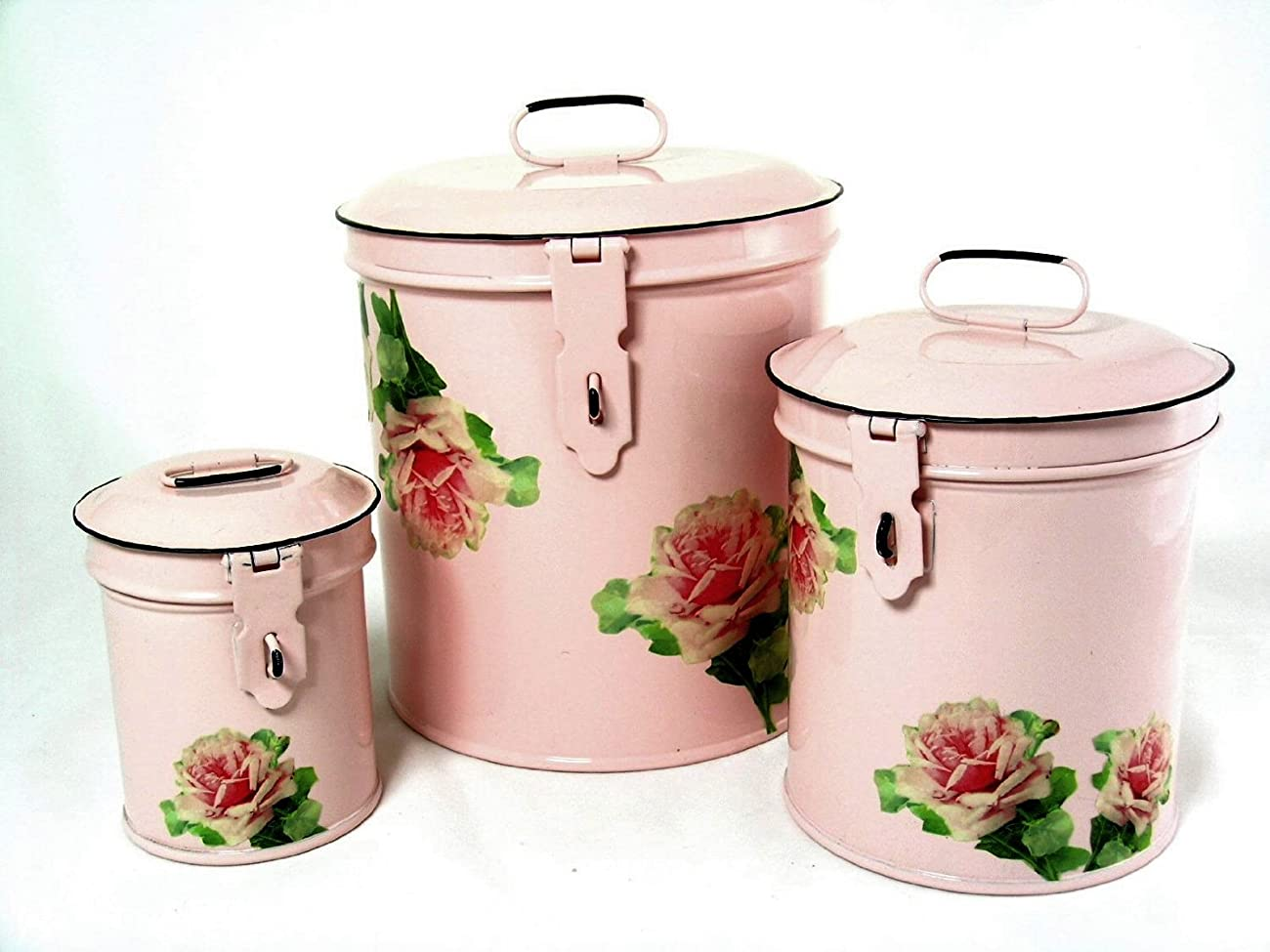 Retro Vintage Canister Set ~ Kitchen Storage Canisters E8 Decorative Containers ~ Shabby Chic Pink Enamel with Shabby Antique Rose 0