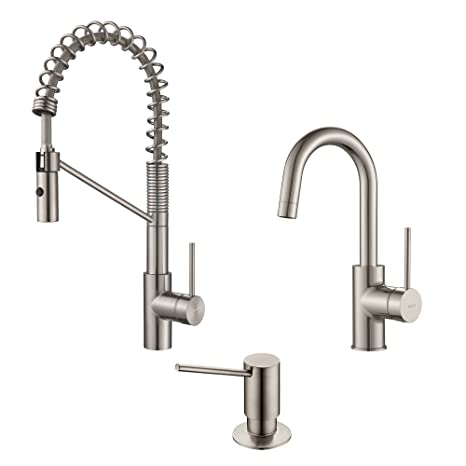 Kraus KPF-2630-2600-41SS Modern Mateo Commercial Style Kitchen Faucet with Bar/Prep, SD Stainless Steel