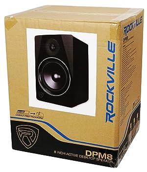 Rockville DPM8B 8 2-Way 300W Black Active/Powered Studio Monitor Speaker (Color: Black, Tamaño: 8 inch)