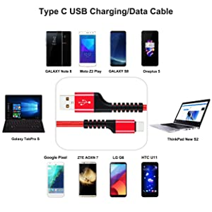 Type C Charger Cable, UNISAME 6Ft Braided USB C Fast Charging Cable for iPad Pro(2018) Galaxy Note 9 8 S8 S8 S9 S9, LG G7 G6 V40 V35 V30, Pixel 3 XL
