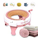 Knitting Machine with Row Counter, 48 Needles Smart Weaving Loom Round Knitting Machines, Knitting Board Rotating Double Knit Loom for Sock/Hat, Weaving Loom for Adults or Kids (Color: pink, Tamaño: 48 Needles)