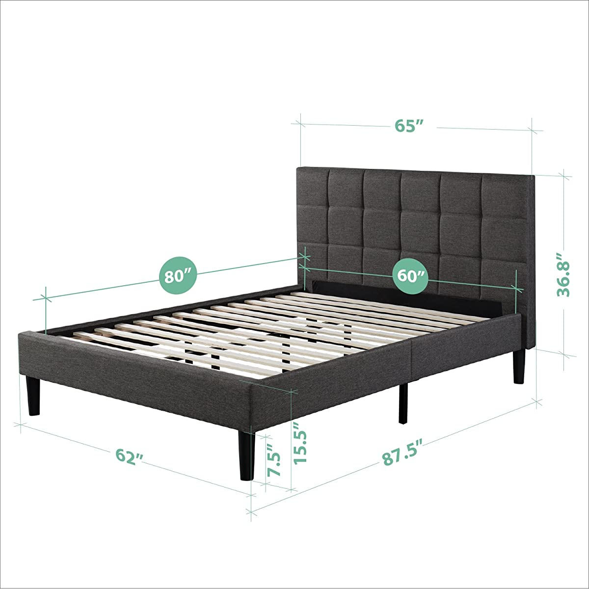Zinus Upholstered Square Stitched Platform Bed with Wooden Slats, Queen