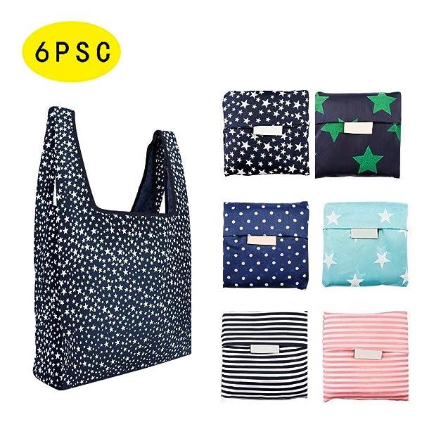 Huangchao Inc 6SB Reusable Shopping Bags, L, colorful (Color: colorful, Tamaño: L)