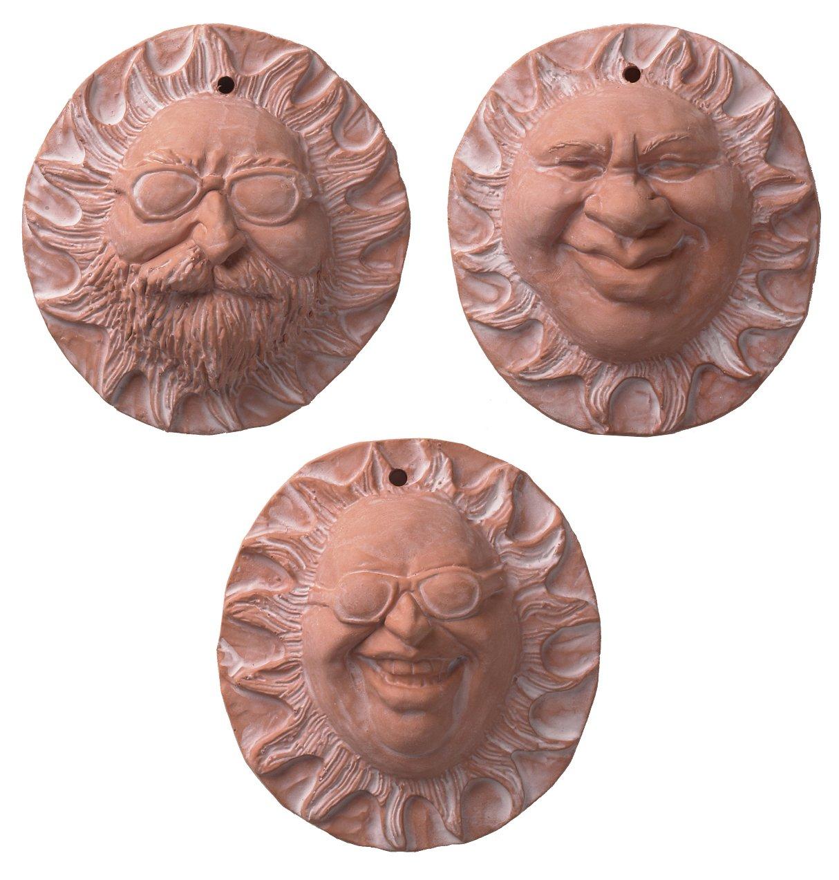 JBK Pottery Individual Handmade Ceramic Terra Cotta Sun Faces, Set ...