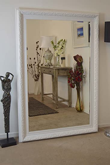 Full Length White Elegant Bevelled Resin Mirror