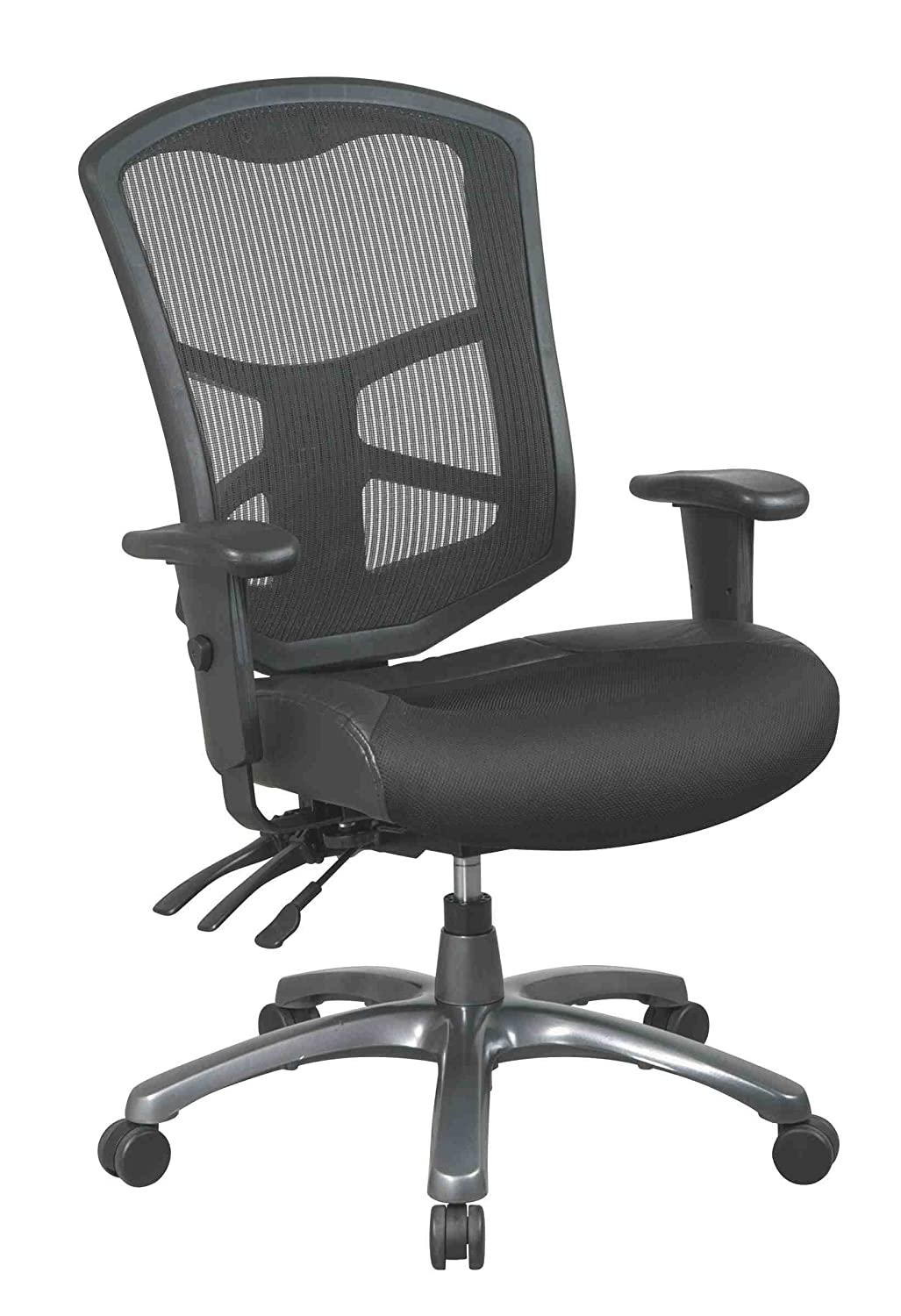 Office Star ProGrid Back Leather and Mesh Seat Chair with Titanium Finish Base, Dual Function Control and 2-Way Adjustment Arms new pu leather high back desk office chair executive ergonomic computer task hw50277