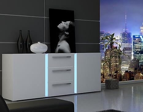 Dreams4Home Sideboard 'Style' - Schrank, Kommode, Konsole, Anrichte, Schubkastenschrank, B/H/T: 169,9 x 76,4 x 42,5 cm, 2 Turen, 3 Schubkästen, 2 Einlegeböden, optional mit Beleuchtung, Wohnzimmer, Melamin, MDF, tiefgezogen, Hochglanz weiß