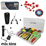 Mockins All In One Fishing Set Includes 139 Piece Fishing Lure Kit | Fishing Flashlight | 120g Fishing Sinker Kit | Fishing Pliers | 12 Pieces Fishing Floats (Color: Multicolor, Tamaño: Fishing Set)