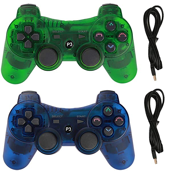 Molgegk Wireless Bluetooth Controller for PS3 Playstation 3 Six-axis,Remote Joystick Gamepad for Dual Shock with Charge Cable,Pack of 2 (ClearBlue and ClearGreen) (Color: ClearBlue and ClearGreen)