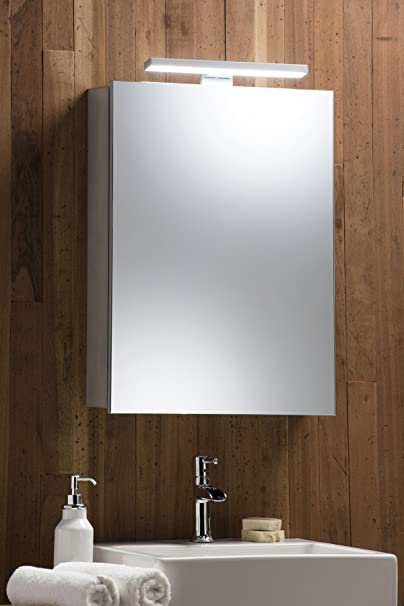 Illuminated Bathroom Mirror Cabinet with Demister Shaver And Sensor Switch Aluminium Frame & LED Lamp 70cm(H) X 50cm(W) C25 With Lights ~ 5 Year Guarantee