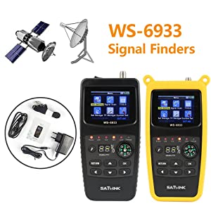 crae9kd SATLINK WS-6933 DVB-S2 Satellite Finder FTA CKU Band Satlink Digital Satellite Finder Meter EU Plug (Color: EU plug)