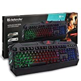 Defender Rainbow Backlit Gaming Keyboard – 104 Keys – 19 Anti Ghost Keys – Adjustable Brightness – Quick, Accurate & High Performance Ergonomic Keyboard – Equally Suitable for Windows PC or Mac (Color: Black, Tamaño: Regular)