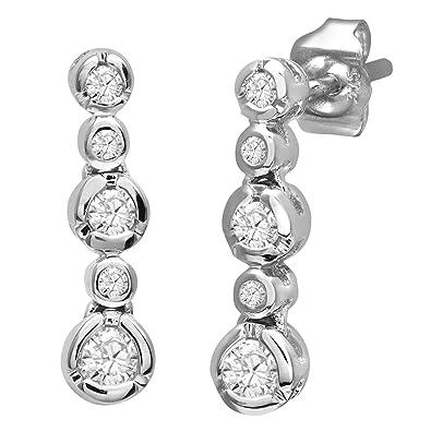 Naava 9 ct White Gold 0.25ct 5-Stone Diamond Drop Earrings Of Length 1.5 cm