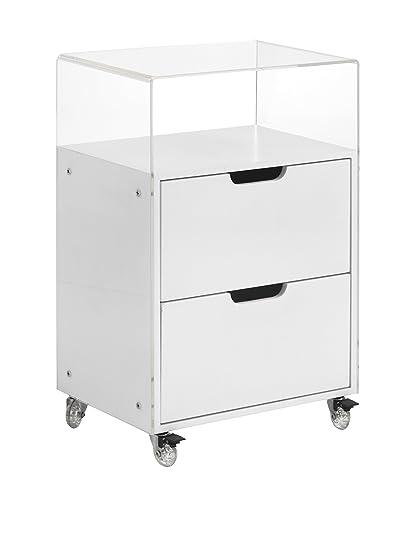 Wink design Cassettiera con Ruote BITONTO, MDF, Bianco Opaco, 44.5x30x68.3 cm