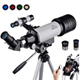 MAXLAPTER Refractive Astronomy Telescope, HD High Magnification, Dual-Use, Suitable for Adults or Children Beginners, Portable, Equipped with Tripod, Smartphone Adapter (Color: WR852-1 White)