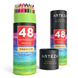 Arteza Watercolor Pencils, Soft-Core, Triangular-shaped, Pre-sharpened (Pack of 48) (Color: 48 Pencils, Tamaño: 48 Pack)
