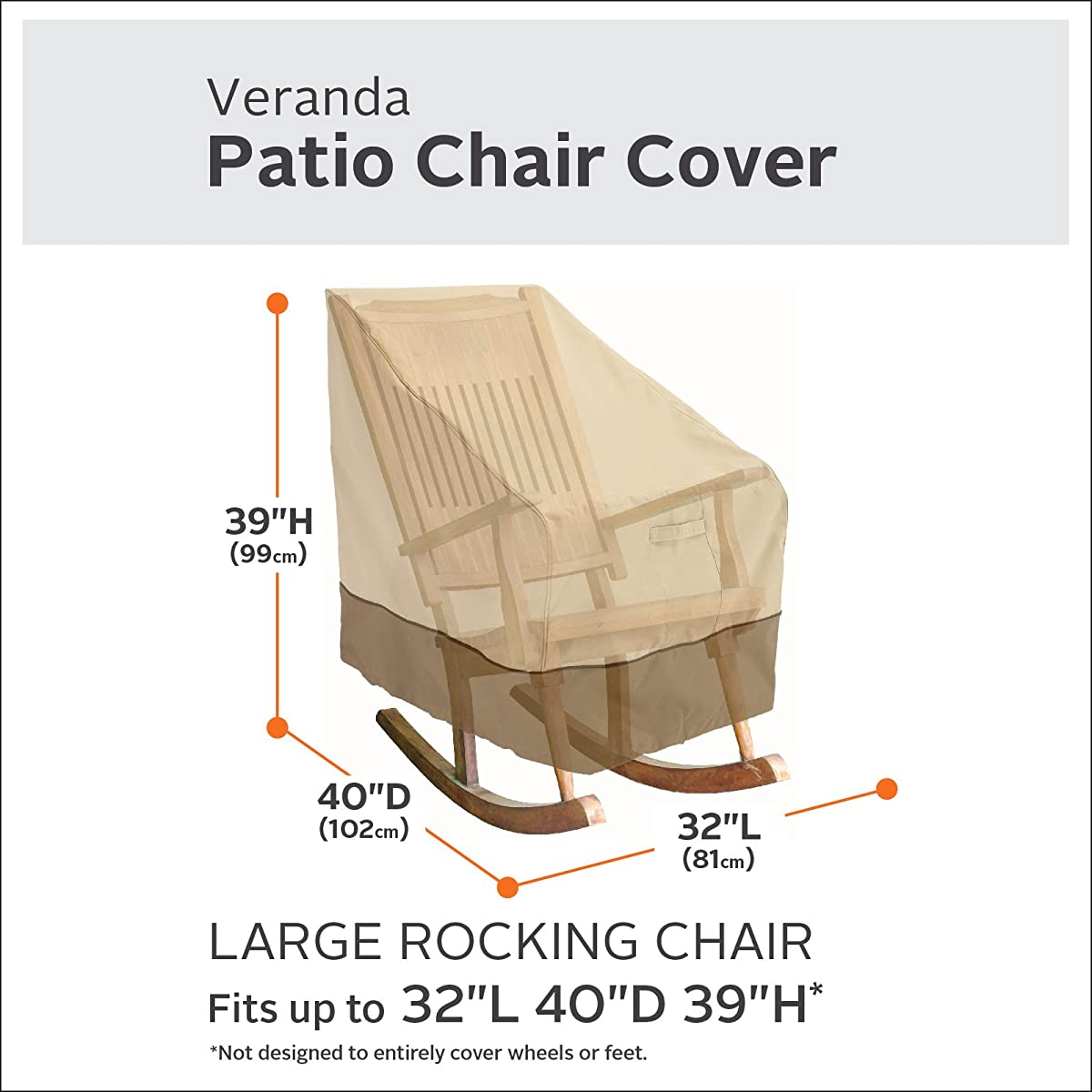 Classic Accessories Veranda Patio Rocking Chair Cover - Durable and Water Resistant Patio Set Cover, Large (55-624-011501-00)
