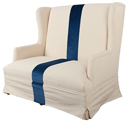 A&B Home Skirted Settee, 52 by 31 by 43.5-Inch, White and Blue
