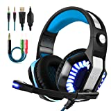 Beexcellent Gaming Headset With Microphone 2017 Newest GM-2 Game Headphone with LED Light for PS4 Xbox 1 Laptop Tablet Mobile Phones PC (Blue+Black) (Color: Blue+Black)