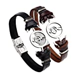 2 PCS Stainless Steel Music Note Symbol Bead Leather Couple Bracelet Cuff ,Black and Brown (Color: 2PCS)