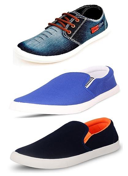 Scatchite Men's Pack of 3 Premium Casual Shoes (10, Blue)