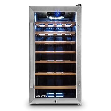 Klarstein Vivo Vino cantinetta minifrigo per vino con 6 ripiani (minibar eco - friendly, capacità 88 litri, 26 bottiglie, doppio sportello in vetro, illuminazione interna) - nero