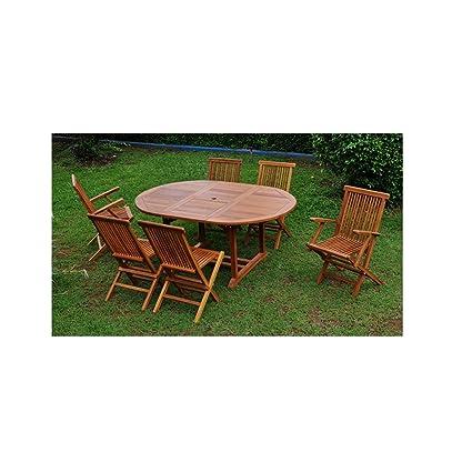 Le Banten Mix: Salon de jardin teck huilé 6/8 pers. 4 chaises 2 fauteuils + table ovale huilée