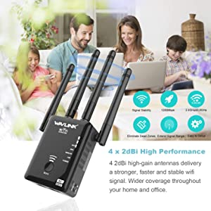 WiFi Range Extender, 1200Mbps Wireless Signal Repeater Booster, 2.4 and 5G Dual-Band 360 Degree Full Coverage WiFi Extender Signal Amplifier with AP/Repeater/Router Mode (Color: 1200Mbps-BK2)