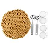 Gold Sealing Wax Beads, Yoption 300 Pieces Octagon Seal Wax Beads with 4 Candles and 2 Melting Spoons for Wax Seal Stamp (Gold) (Color: Gold)