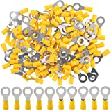 Hilitchi 100Pcs 12-10AWG Insulated Terminals Ring Electrical Wire Crimp Connectors (Yellow - M8) (Yellow - M8) (Color: Yellow - M8)