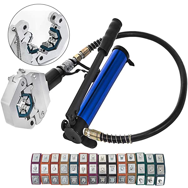 Mophorn Manually Operated AC Hose Crimper FS-7842B Separable Hydraulic Hose Crimper Kit Manual Piston Valve For Aluminum Pump Air Conditioning Repair with 7 Dies Whole Set Handheld AC Hose (Color: FS-7842B Hose Crimper W/Aluminum Pump)