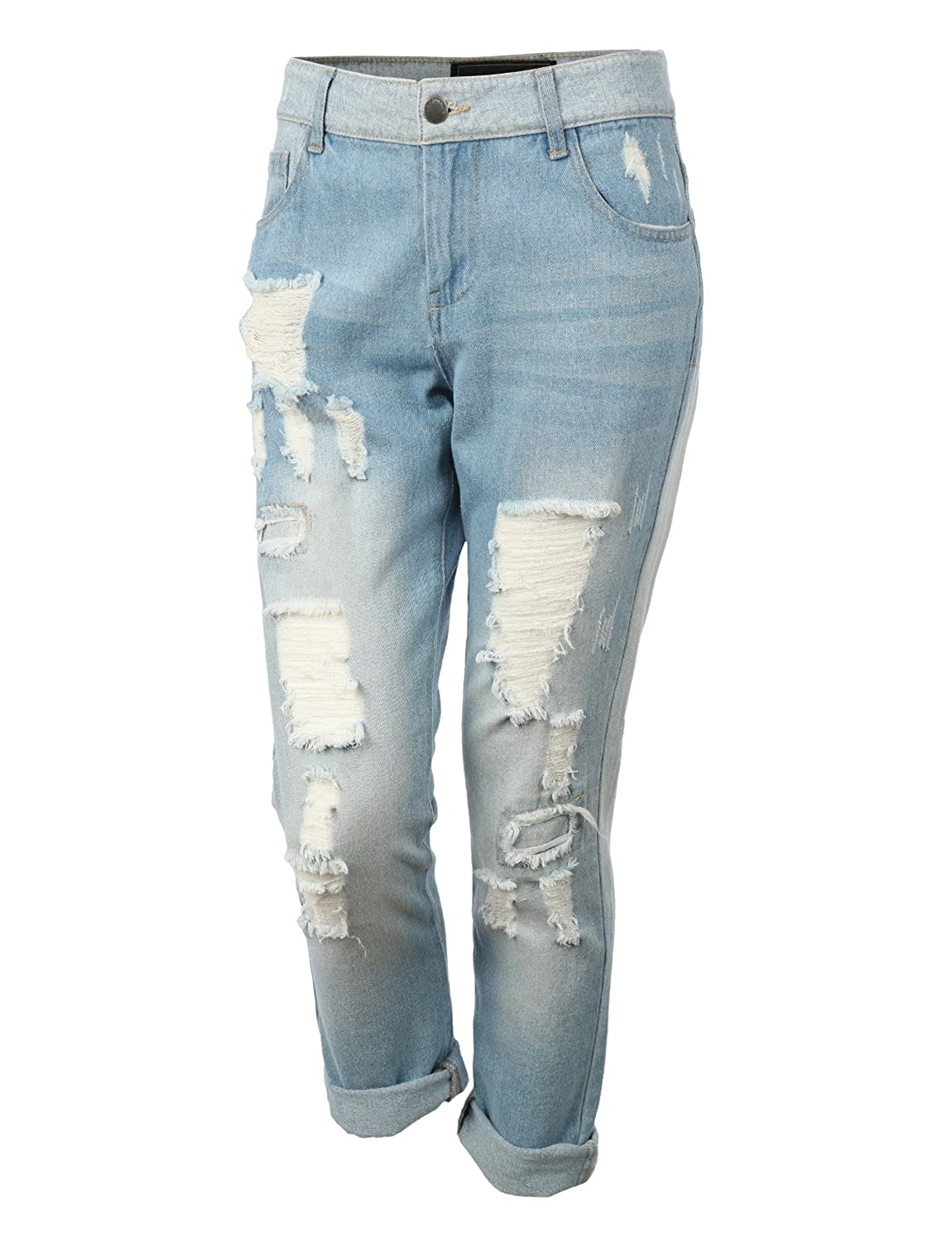RubyK Womens Lightweight Distressed Ripped Roll Up Boyfriend Jeans roll up ankle jeans