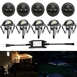 FVTLED Pack of 6 Warm White LED Deck lights kit F1.38 Outdoor Garden Yard Decoration Lamp Recessed Pathway Step Warm White LED Lighting, Black (Color: Warm White (Black), Tamaño: 6pcs)