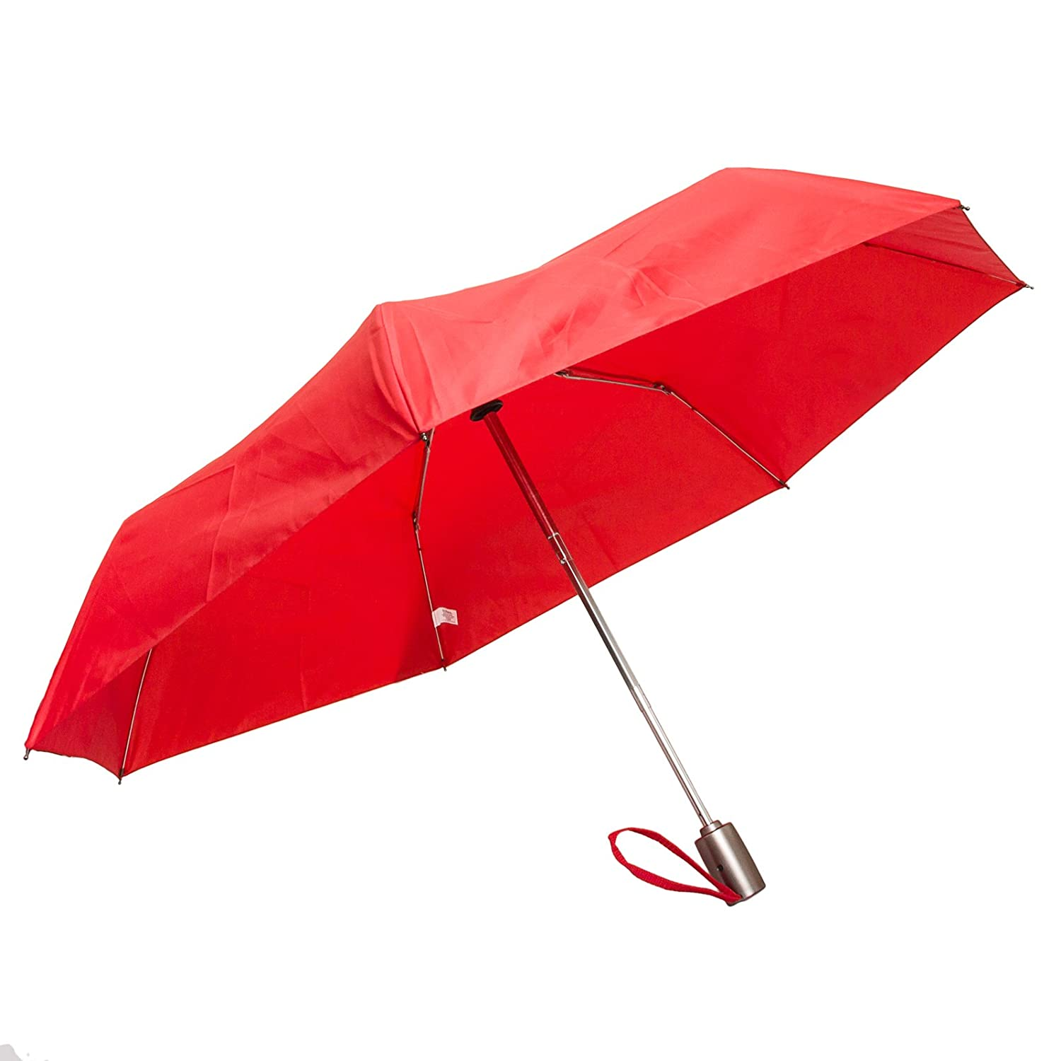 Totes Auto Open/Auto Close Umbrella w/ Grey Handle (Red)