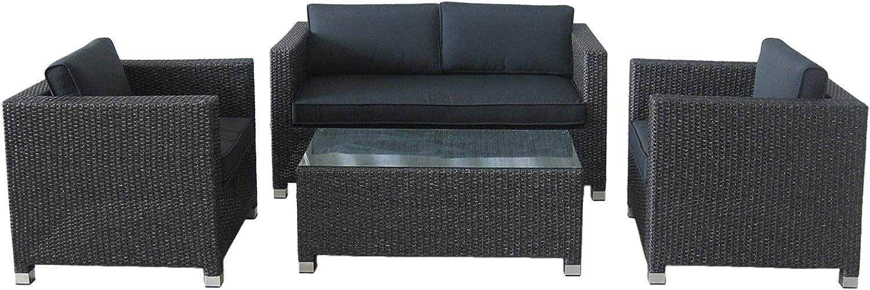 Stern 419880 Gruppe Miami Geflecht dunkelgrau, 2 Sessel, 1 Sofa, Sitz- und Rückenkissen grau, 1 Beistelltisch mit Klarglasplatte
