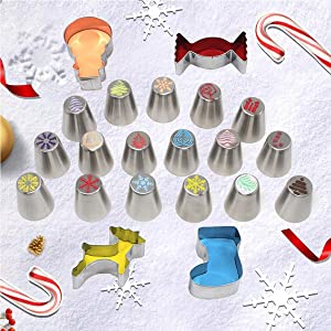 22 pcs Christmas Cake Decorating Kit - 16pcs Russian Piping Tips Set + 4pcs Cookie Cutters,Flower Shaped Icing Nozzles With Cream Bags,Coupler and Storage Case, CHRISTMAS Baking Decorations Supplies (Color: Silver)