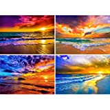 4 Pack 5D Full Drill Diamond Painting Kit, KISSBUTY DIY Diamond Rhinestone Painting Kits for Adults and Beginner Embroidery Arts Craft Home Decor, 15.8 X 11.8 Inch (Seaside Scene) (Color: Seaside Scene)